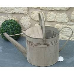 Arrosoir Cache Pot Décoratif ou Broc Porte Jardinière Fonctionnel en Fer Patiné Gris 21x32x33cm