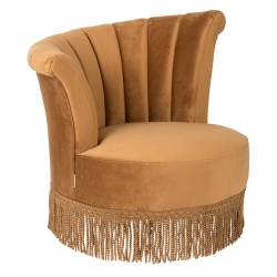 Fauteuil Lounge Flair Dutchbone Style Vintage Franges en Velours Or Gold 85x88x95cm