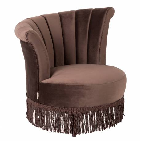 Fauteuil Lounge Flair Dutchbone Style Vintage Franges en Velours Marron Chocolat 85x88x95cm