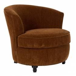 Fauteuil Lounge Freux Dutchbone Style Vintage en Velours Marron 73x80x83cm