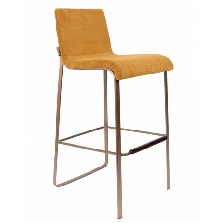 le dernier 7042e 31ba2 Chaise de Bar Design Flor Dutchbone Tabouret Haut Séjour Chic et Cosy en  Métal et Velours Jaune Moutarde 44,5x54,5x100cm