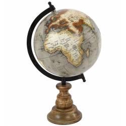 Grand Globe Mappemonde Terrestre Décoratif Rotatif Planisphère Sur Pied Carte Ronde 21x23x36cm