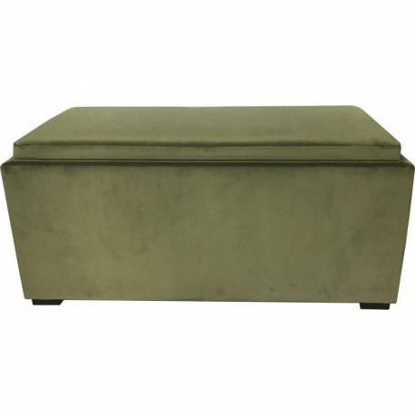 Coffre Banc Countra Bout De Lit Malle De Rangement En Velours Vert Mousse 45x45x94cm