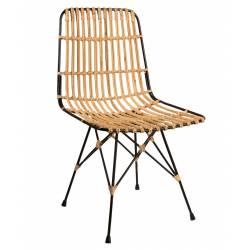 Chaise de Salle à Manger Dutchbone Tendance Siège de Salon Lounge Design Intérieur en Métal et Tressage Naturel 47x56,5x80,5cm