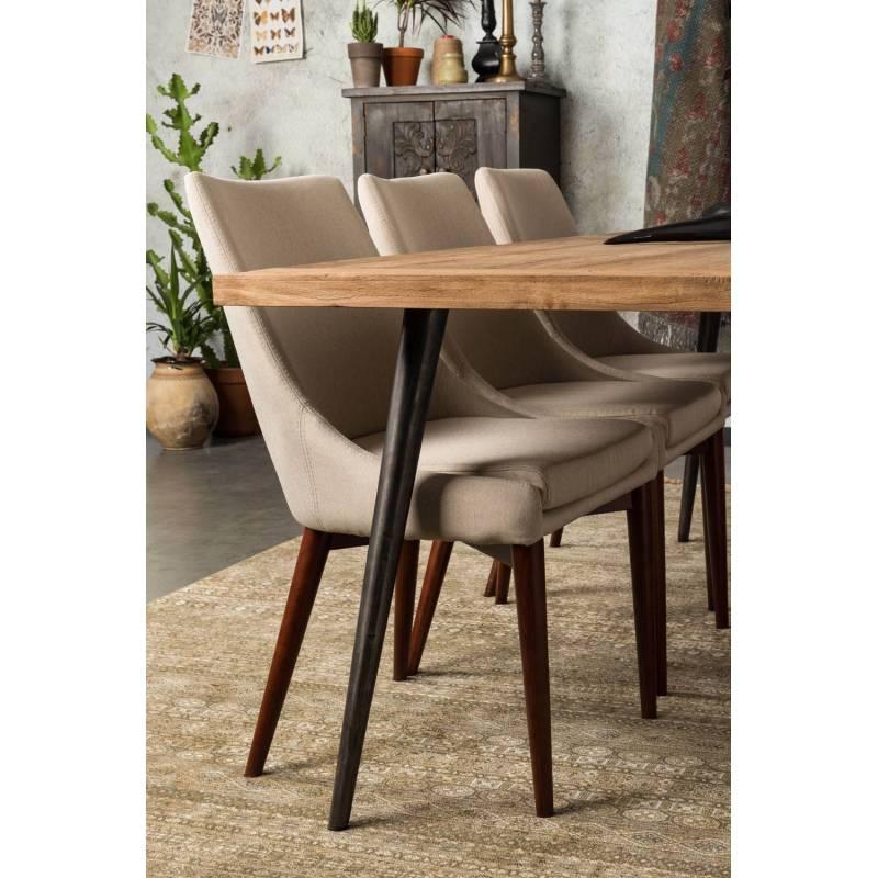chaise de salon juju dutchbone si ge de table s jour chic et r tro en bois et tissu beige 49x57. Black Bedroom Furniture Sets. Home Design Ideas