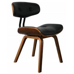 Chaise Design Lounge Blackwood Dutchbone Tendance Siège de Salon en Bois et Cuir Noir 51x55,5x78cm
