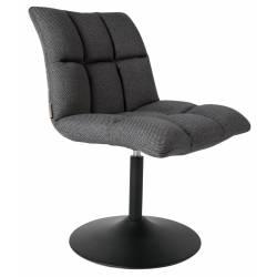 Chaise Design Lounge Mini Bar Dutchbone Tendance Siège de Bureau Table Intérieur en Acier Noir et Tissu Gris Foncé 56x65x86cm