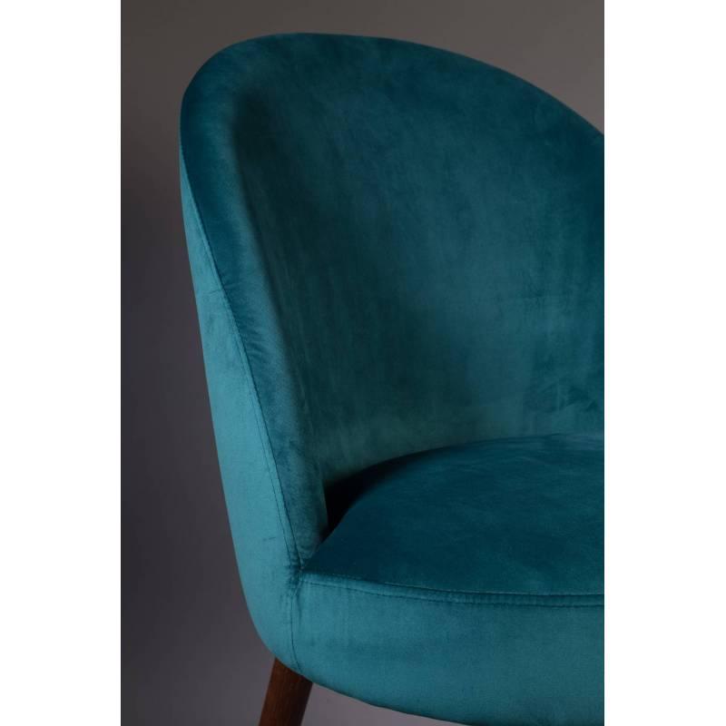 chaise velours barbara dutchbone vintage tendance si ge de table bleu p trole 51x59x85 5cm l. Black Bedroom Furniture Sets. Home Design Ideas