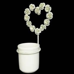 Porte Gobelet à Brosse à Dents Mural ou Patère Circulaire et son Verre Motif Coeur à Fixer en Fer Patiné Blanc 12,5x13,5x23,5cm