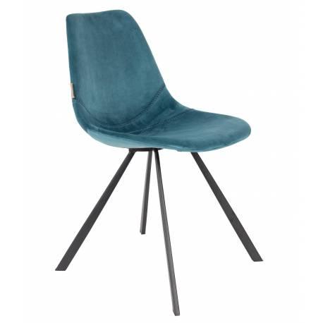 chaise velours franky dutchbone vintage tendance si ge de table bleu p trole 46x56x83cm l. Black Bedroom Furniture Sets. Home Design Ideas