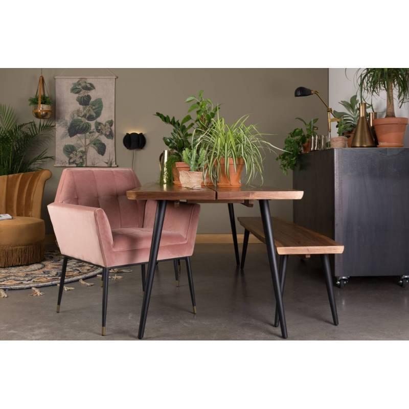 Fauteuil velours kate dutchbone vintage tendance chaise de salon rose poudr 63 5x71 5x86cm l - Salon rose poudre ...