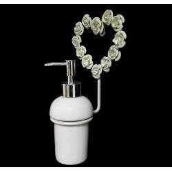 Distributeur de Savon Mural Motifs Roses ou Support à Pousse Mousse à Fixer en Fer Patiné Blanc 11x13,5x26,5cm