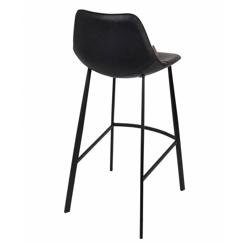 chaise de bar cuir franky dutchbone vintage tendance si ge haut noir 50x54x106cm l 39 h ritier du