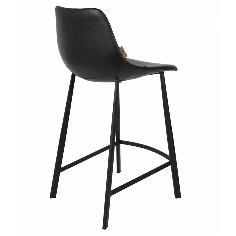 chaise de bar cuir franky dutchbone vintage tendance si ge haut noir 45x52x91cm l 39 h ritier du
