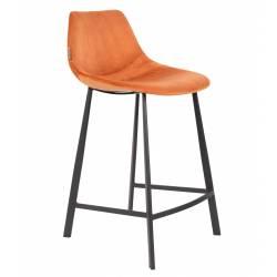 Chaise de Bar Velours Franky Dutchbone Vintage Tendance Siège Haut Orange Brûlé 45x52x91cm