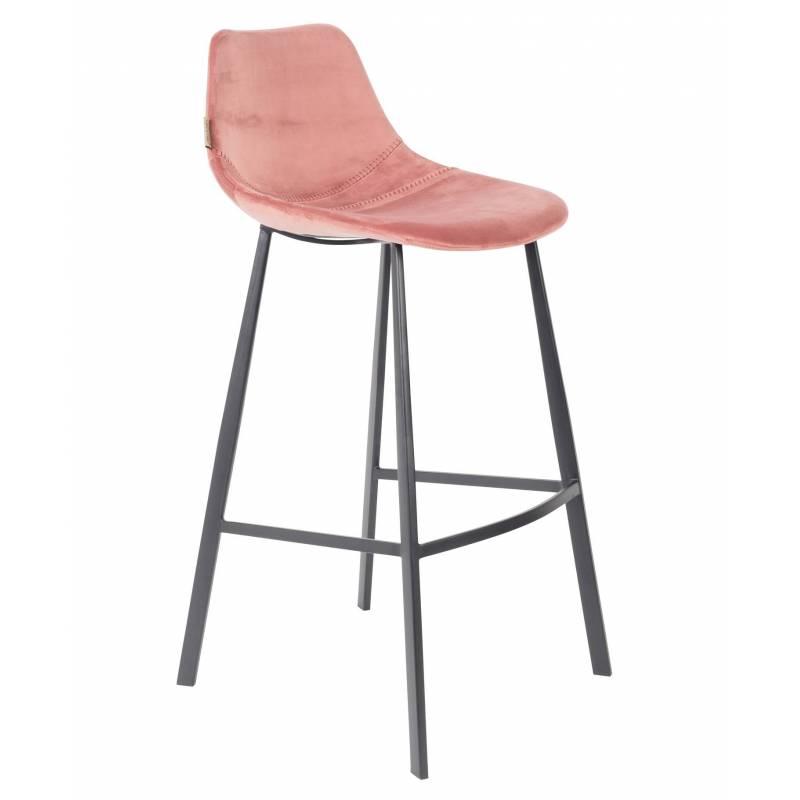 chaise de bar velours franky dutchbone vintage tendance si ge haut rose poudr 50x54x106cm l. Black Bedroom Furniture Sets. Home Design Ideas