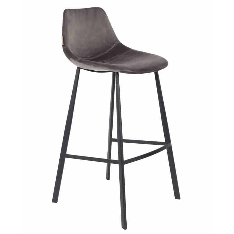 chaise de bar velours franky dutchbone vintage tendance si ge haut gris souris 50x54x106cm l
