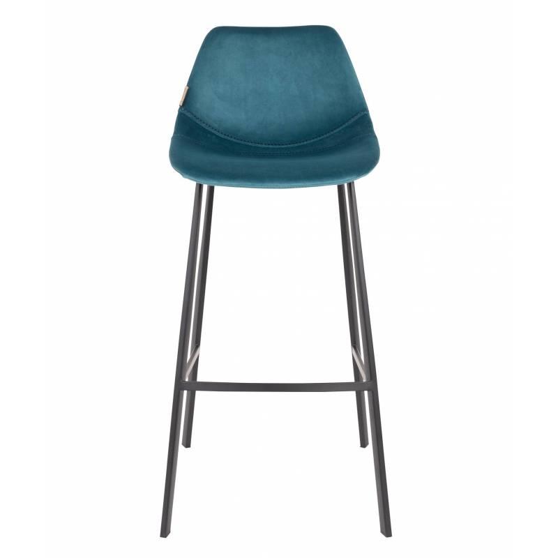 chaise de bar velours franky dutchbone vintage tendance si ge haut bleu p trole 50x54x106cm l. Black Bedroom Furniture Sets. Home Design Ideas