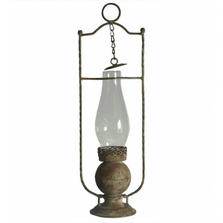 Lampe Tempête Antique à Poser ou Lanterne Bougeoir Style Lampe à Huile en Verre et Fer Patiné Beige 15x15x46cm