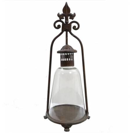Lanterne Bougeoir à Poser ou Lampe Tempête Lampe à Huile Intérieur Extérieur en Fer et Verre Patiné Marron 18,5x18,5x46,5cm