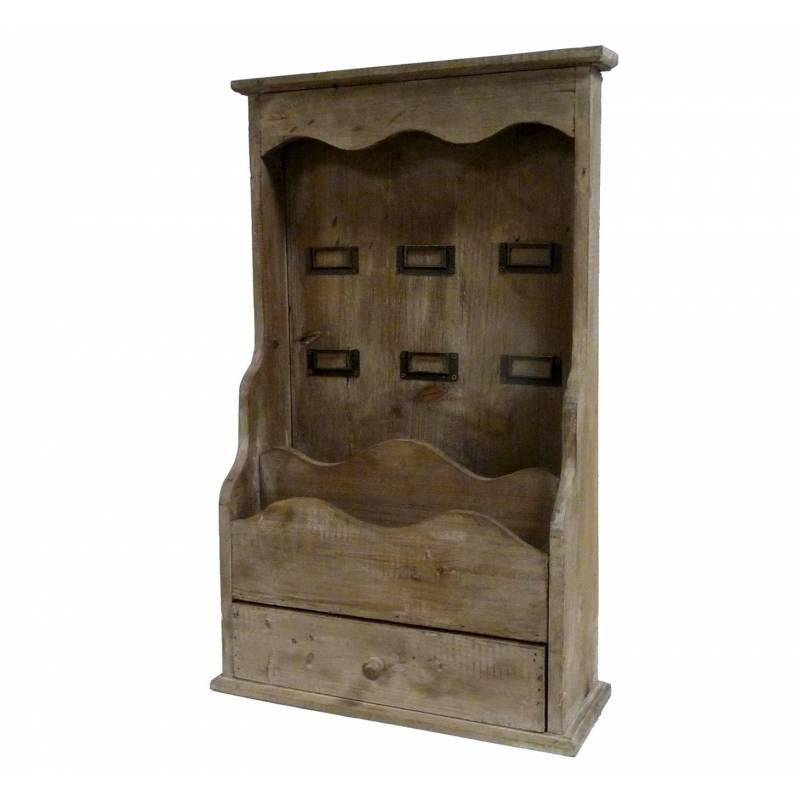 Etag re d 39 entr e console murale ou poser en bois range for Etagere murale avec tiroir