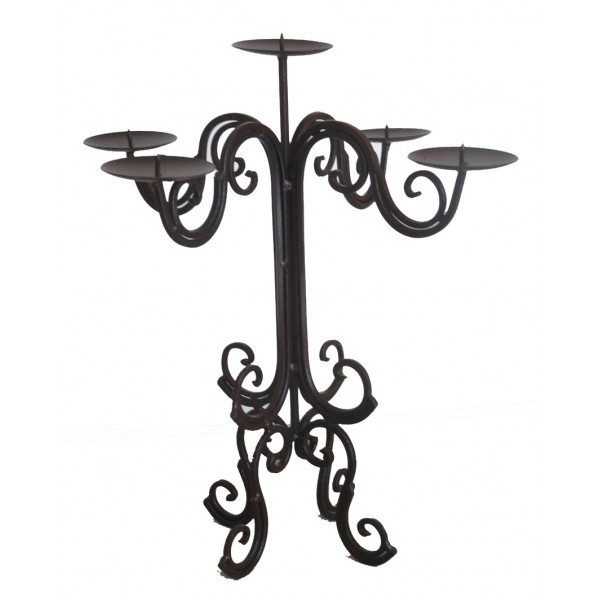 Bougeoir de Table 5 Bougies à Poser ou Chandelier Décoratif Style Baroque 5 Feux en Fer Patiné Marron 36x36x39cm