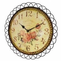 Horloge Murale Pendule Ronde en Fer et Papier Décoré de Roses 3x39x39cm