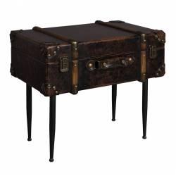 Bout de Canapé Luggage Sellette Tablette d'Appoint Cuir Guéridon Forme Bagages Bois et Métal Noir 32x40x49cm
