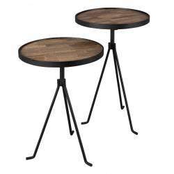 Set de 2 Bouts de Canapé Tides Sellettes Tablettes d'Appoint Ronde Guéridons en Acier Noir et Teck Naturel 38x38x60cm