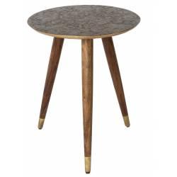 Bout de Canapé Sellette Petite Table Basse Gigogne Console d'Appoint Guéridon Carré en Fer Patiné Blanc 48x48x49cm