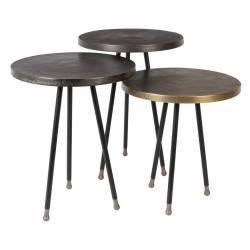 Set de 3 Bouts de Canapé Alim Dutchbone Sellettes Tablettes d'Appoint Ronde Guéridons en Fer Noir Cuivre Laiton 35,5x35,5x48cm