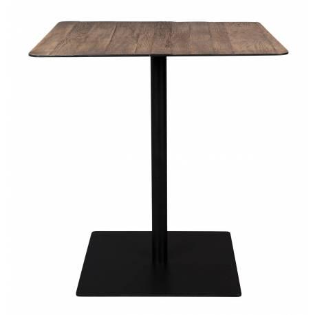 Table Braza Dutchbone Table de Repas Salon Design Industriel Vintage en Acier et Bois Marron 70x70x75cm