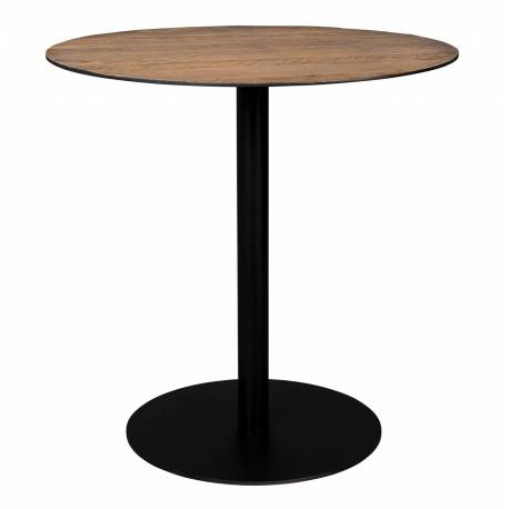 Table Ronde Braza Dutchbone Table de Repas Salon Design Industriel Vintage en Acier et Bois Marron 75x75x75cm