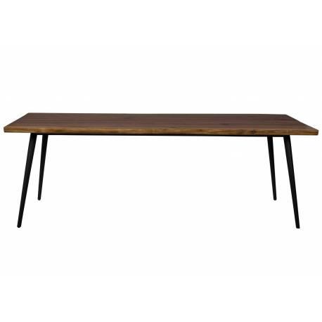 Table Rectangulaire Alagon Dutchbone Table de Repas Salon Design Industriel Vintage en Acier et Bois Marron 75x90x220cm