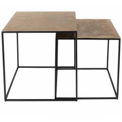 Set de 2 Tables Basses Saffra Console de Salon Vintage en Acier Laiton Doré 46x46x46cm