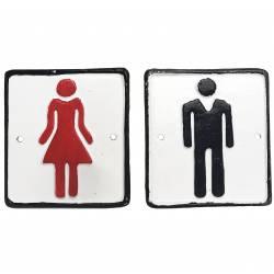 """Plaque Décorative Porte à Suspendre Ecriteau avec Inscription """"Toilettes"""" en Fer Patiné Gris 0,1x16,5,24,5cm"""
