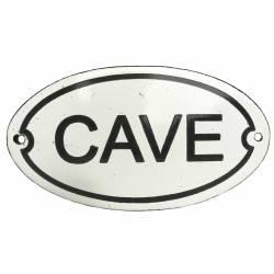 """Plaque Murale Nominative Enseigne de Porte Ecriteau """"CAVE"""" en Fer Emaillé 0,1x0,1x13,5cm"""