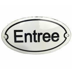 """Plaque Murale Nominative Enseigne de Porte Ecriteau """"ENTREE"""" en Fer Emaillé 0,1x7,5x13,5cm"""