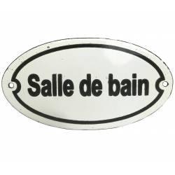 """Plaque Murale Nominative Enseigne de Porte Ecriteau """"SALLE DE BAIN"""" en Fer Emaillé 0,1x7,5x13,5cm"""