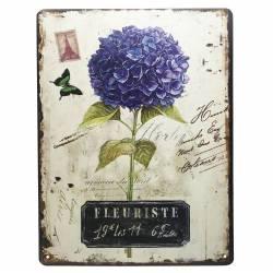 Plaque Publicitaire Rectangulaire Décorative Fleuriste Hortensia Thème Floral Printemps en Fer 0,1x25x33cm