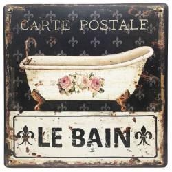Plaque Publicitaire Carrée Décorative Le Bain Thème Carte Postale Salle d'Eau en Fer 0,1x30x30cm