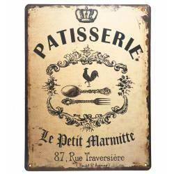 Plaque Publicitaire Rectangulaire Décorative Patisserie Thème Boulangerie Art de Vivre en Fer 0,1x25x33cm