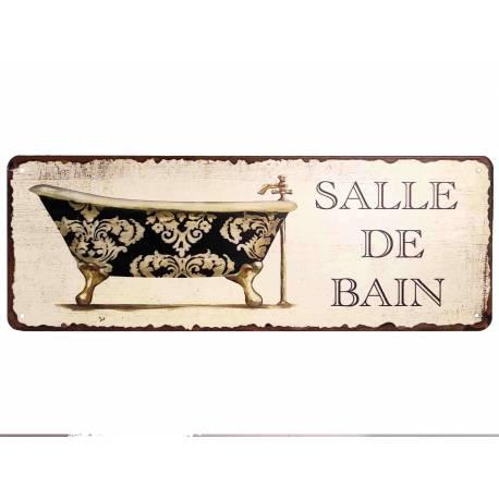"""Plaque Murale Rectangulaire Nominative Enseigne de Porte Ecriteau """"SALLE DE BAIN"""" en Fer et Papier Vernis 0,1x13x36cm"""