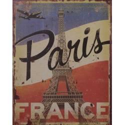 Plaque Publicitaire Rectangulaire Décorative Paris Thème France Bleu Blanc Rouge Art de Vivre en Fer 0,2x20x25cm