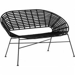 Banquette Toma Façon Chaise en Rotin en Acier et Plastique Couleur Noire 72x82x126cm