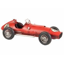 Voiture de Course Voiturette Formule 1 Vintage Minitature Ancienne en Métal Rouge 10,5x13x32cm