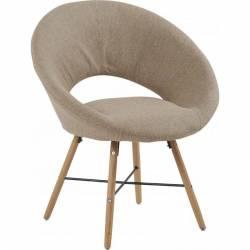 Chaise Saturne Design Fauteuil Siège Contemporain en Bois et Tissu Beige 73x73x81cm