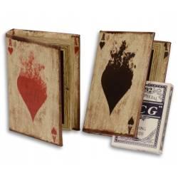 Boitier de Rangement Etui Motif Coeur Rouge Jeu de Cartes en Bois et Papier Vernis Multicolore 3x9,5x13,5cm