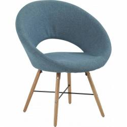 Chaise Saturne Design Fauteuil Siège Contemporain en Bois et Tissu Bleu 73x73x81cm