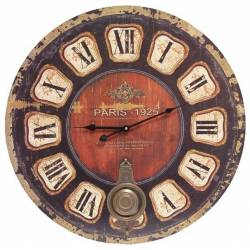 Horloge Murale Pendule Ronde de Cuisine ou Salon en Bois et Papier Paris 1925 4x58x58cm